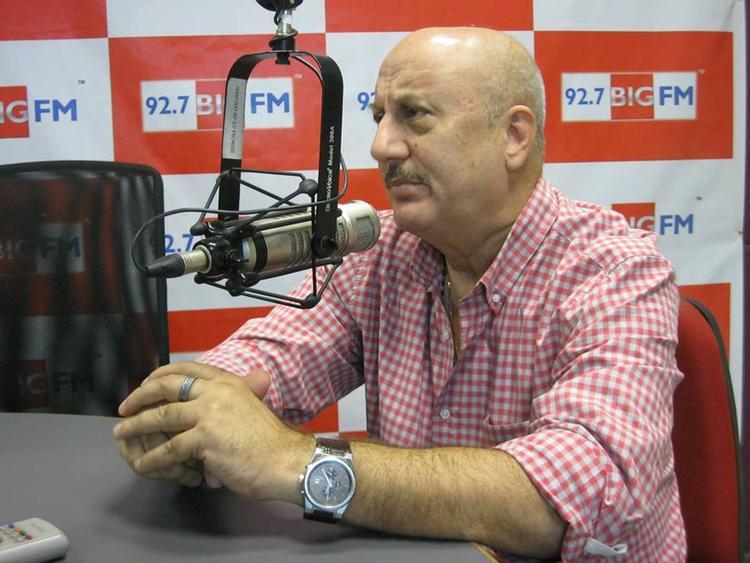 Anupam Kher During 92.7 BIG FM Studio For Successful Completion Of 10 Years Of Kuch Bhi Ho Sakta Hai Program
