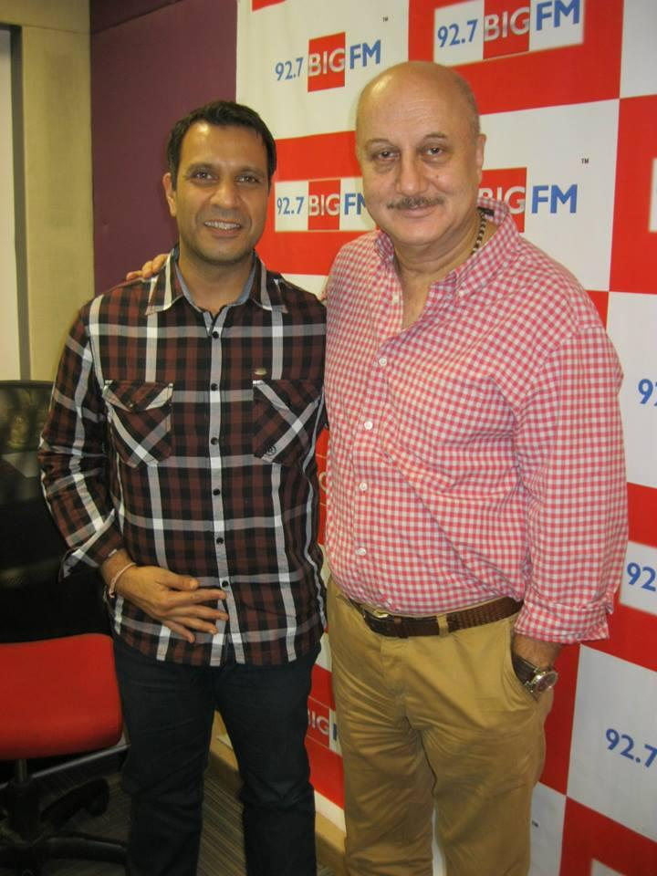Anupam Kher Spotted At 92.7 BIG FM Studio For Successful Completion Of 10 Years Of Kuch Bhi Ho Sakta Hai Program