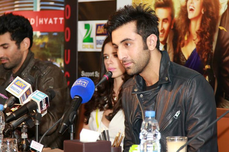 Aditya,Kalki And Ranbir During The Promotion Of YJHD At Dubai