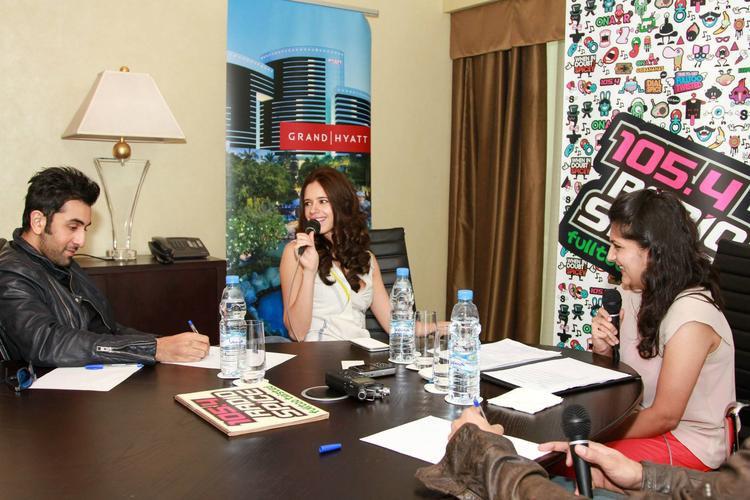 Kalki Koechlin And Ranbir Kapoor Snapped In Dubai At 105.4 Radio Spice FM