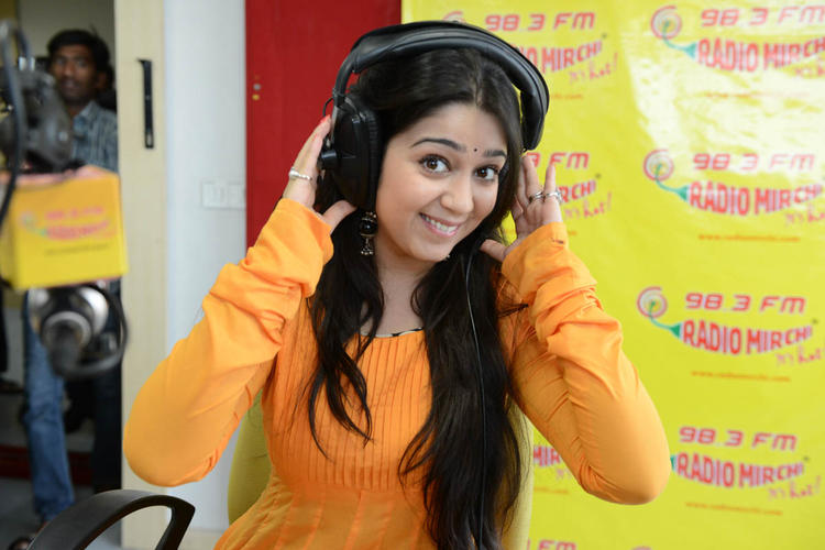 Charmy Kaur Cool Pose At Radio Mirchi During The Promotion Of Prema Oka Maikam Movie
