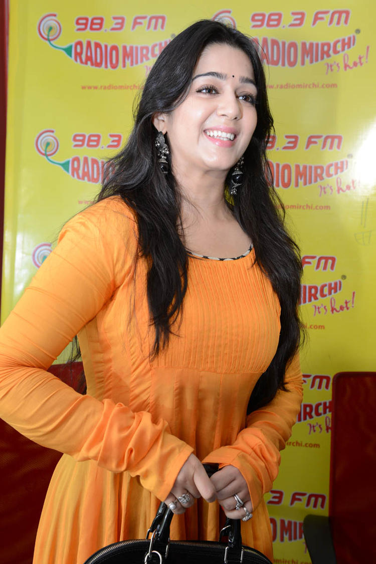 Charmy Kaur Stunning Look At 98.3 FM Radio Mirchi For Prema Oka Maikam Movie Promotions Event