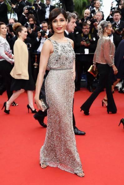 Freida Pinto Shows Her Leg In Sanchita Gown At Cannes Film Festival