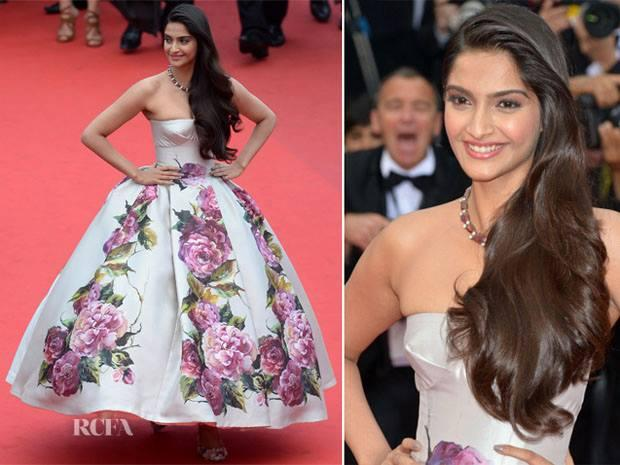 Sonam Kapoor Wows In Pink Floral Dolce And Gabbana At Cannes Film Festival