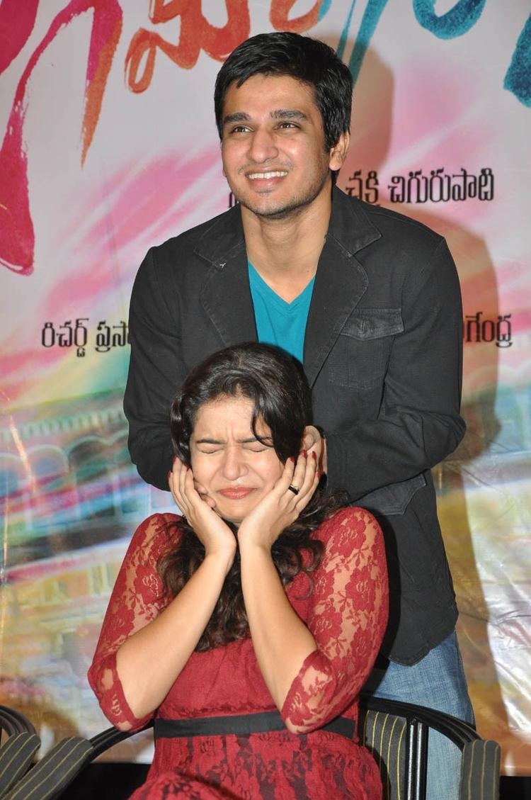Swati And Nikhil Cool Look At Swamy Ra Ra Movie 50 Days Function