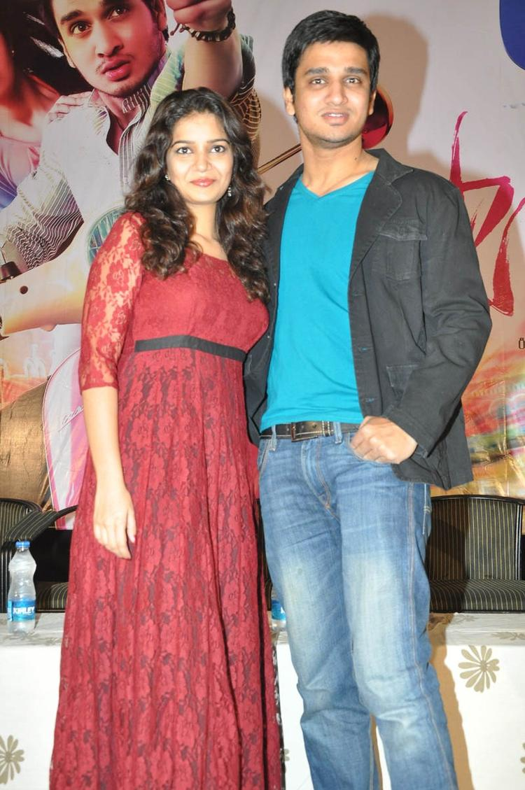 Swati And Nikhil Posed For Camera At Swamy Ra Ra Movie 50 Days Function