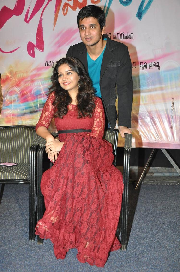Swati And Nikhil Strike A Pose At Swamy Ra Ra Movie 50 Days Function