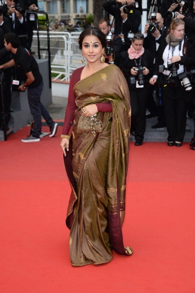 Vidya In Saree Indian Traditional Look In Red Carpet Bombay Talkies Screening In Cannes 2013