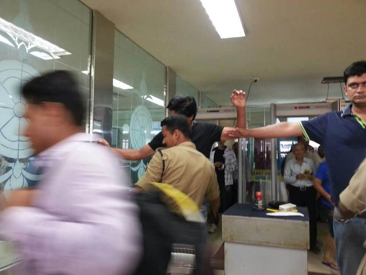 Shahrukh Khan Frisked At The Security Hold Area Of Goa Airport