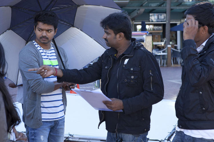 Vijay On The Sets Of Thalaivaa Movie