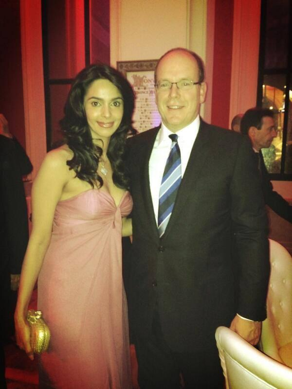 Mallika Pose With Prince Albert Of Monaco At Cannes Film Festival 2013