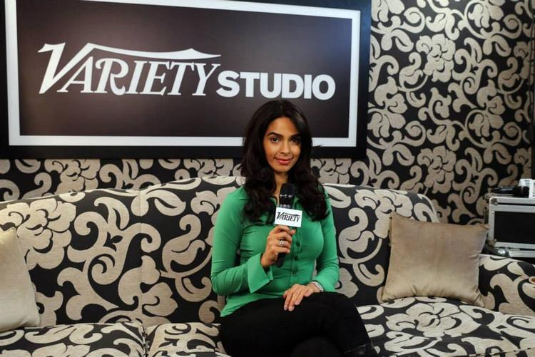 Mallika Sherawat Pose With Mike At Variety Studio Portrait Session During Cannes