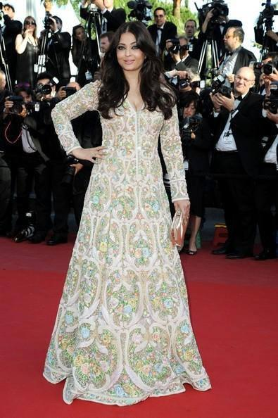 Aish In A White Abu Jani Sandeep Khosla Floor-Length Anarkali With Colourful Heavy Embroidery Dress On Red Carpet