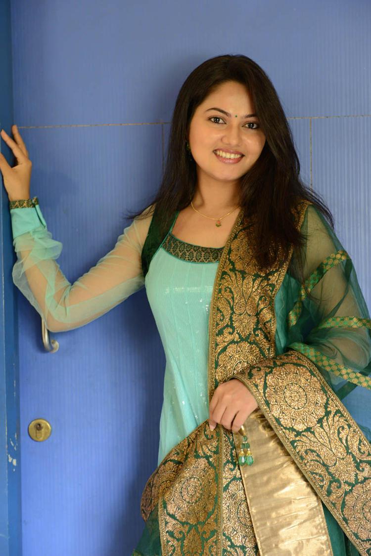 Suhasini In Chudidar Dress Cute Smiling Pose At Rough Movie Logo Launch Event