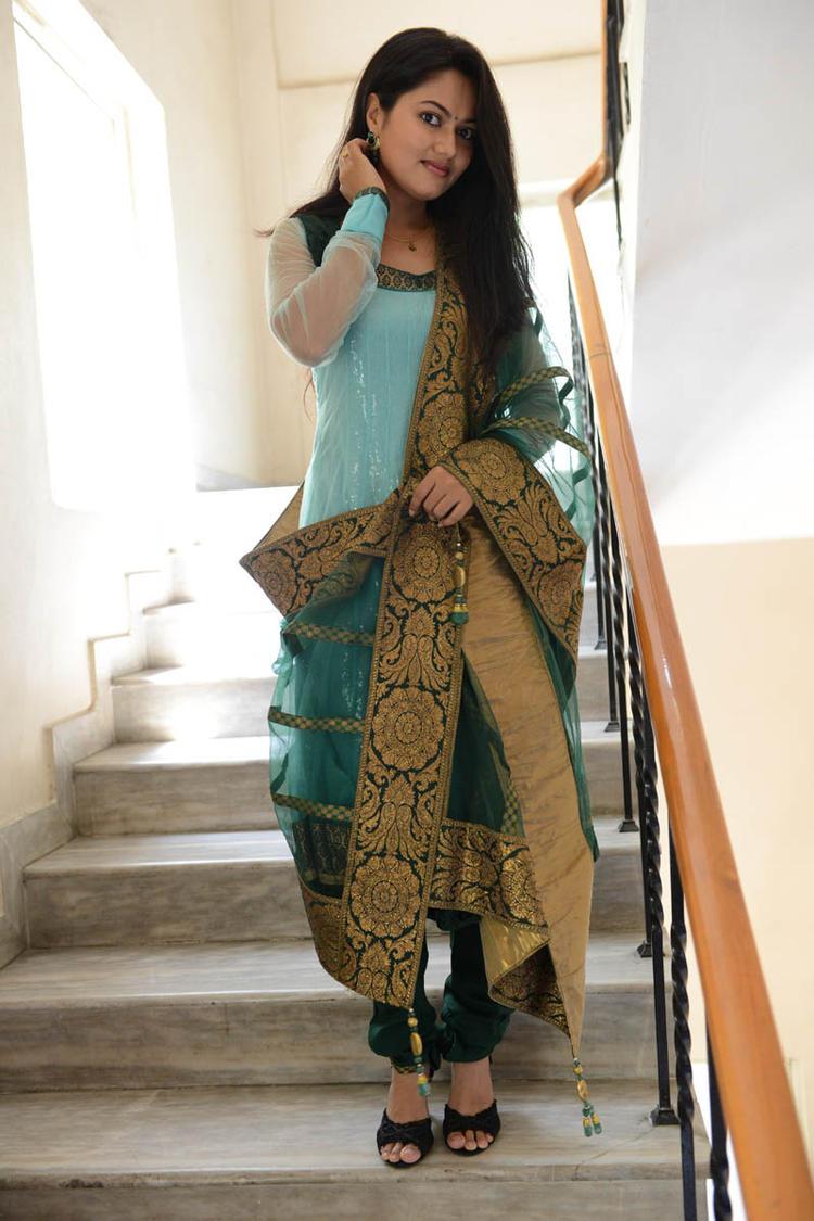 Suhasini In Chudidar Dress Stylish Cool Pose At Rough Movie Logo Launch Event