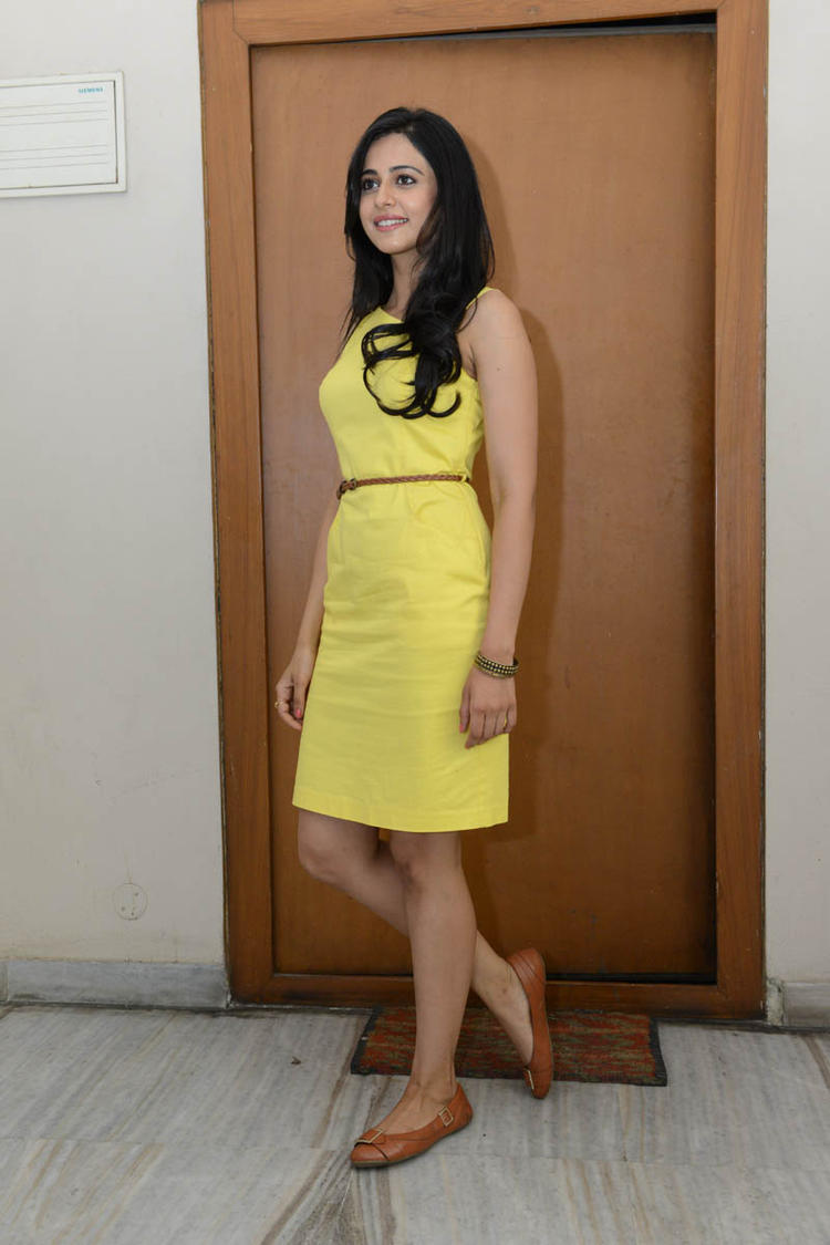 Rakul Preet Singh Nice And Cool Pose In Yellow Dress At Rough Movie Logo Launch Event