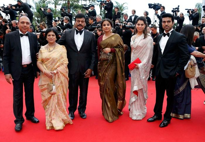 Telugu Superstar Chiranjeevi With Family And Vidya Balan On Red Carpet At Cannes