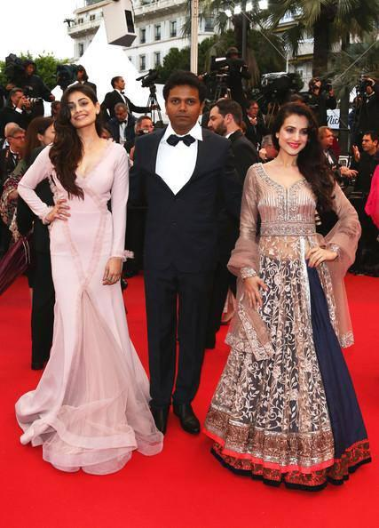 Ameesha And Puja With Susi Ganeshan On The Red Carpet Of Cannes Film Festival