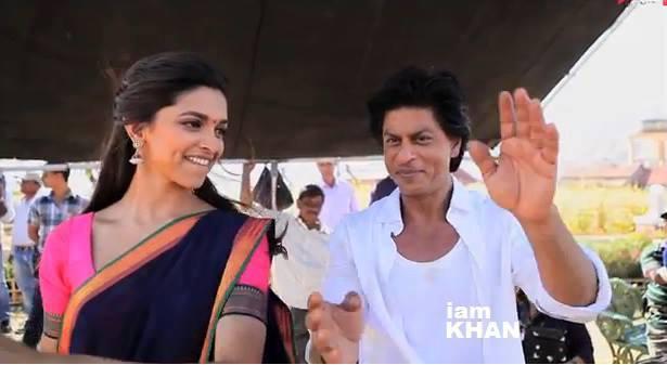 Shahrukh And Deepika Funny Still At The Shooting Set Of Chennai Express