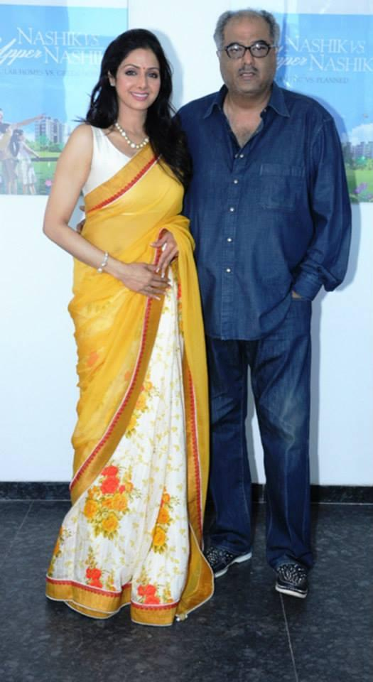 Sridevi And Hubby Boney Posed At Retail Property Maitreya Greens Housing Project Launching Event In Nasik
