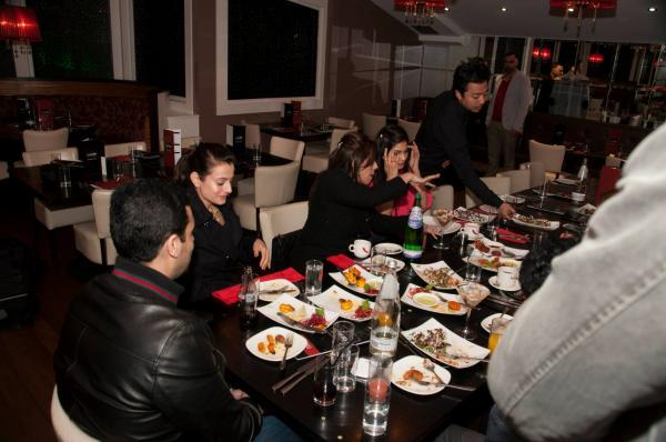 Ameesha And Puja Eating Still At CHAK 89 Restaurant During Shortcut Romeo Promotion