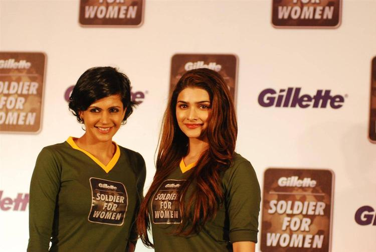 Mandira And Prachi Strike A Pose During The Launch Of Soldier For Woman By Gillette