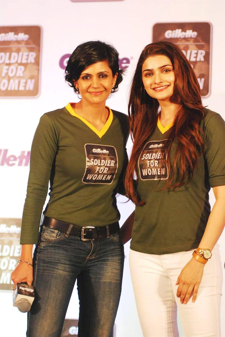 Prachi Desai And Mandira Pose During The Launch Of  Soldier For Women By Gillette