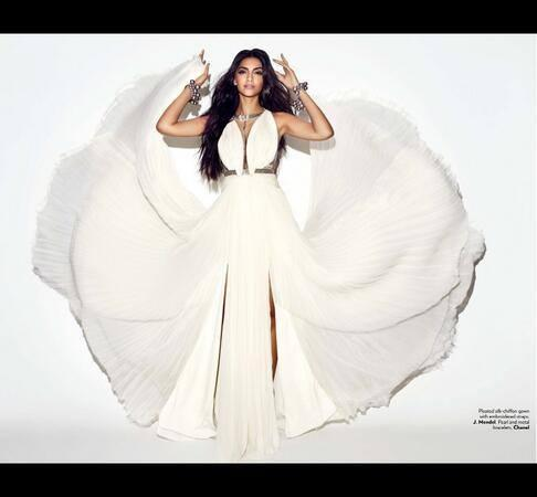 Sonam Kapoor In White Gown Sizzling Photo Shoot For Vogue June 2013