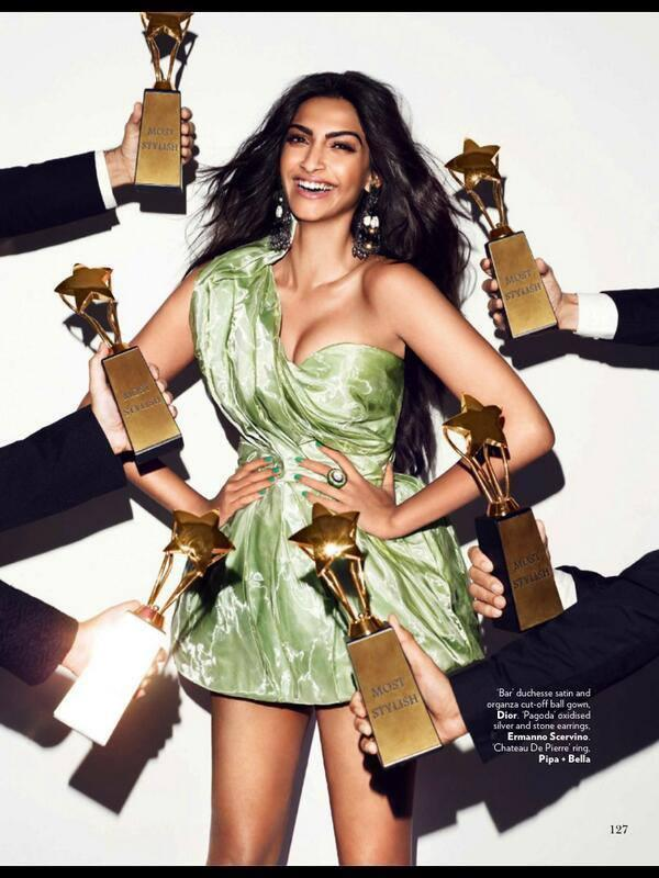 Sonam Kapoor Wore A Light Green Short Sleeveless Dress For Vogue Magazine June 2013