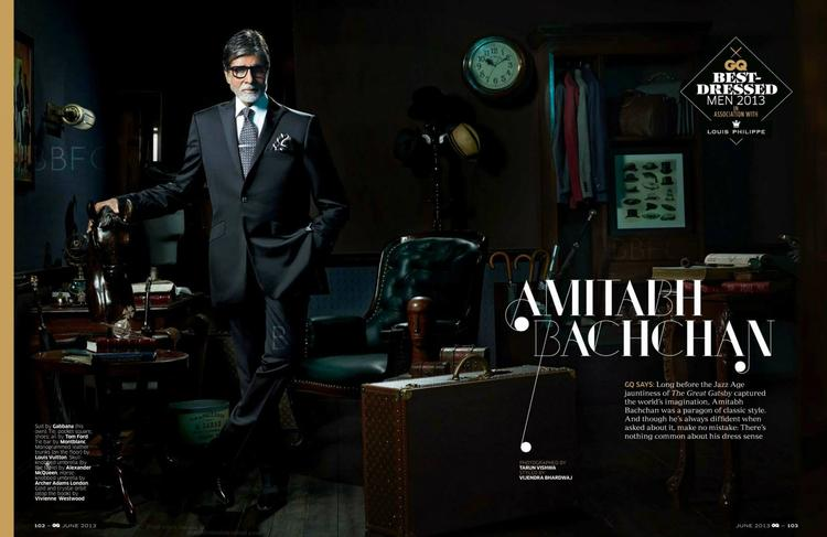 Bollywood Superstar Amitabh Bachchan On The Cover GQ India June 2013