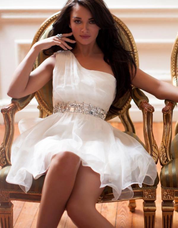Amy Jackson Lipsy V I P One Shoulder Organza Prom Dress