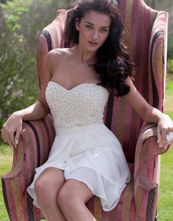 Amy Jackson Lipsy V I P Pearl Embellished Bandeau Dress