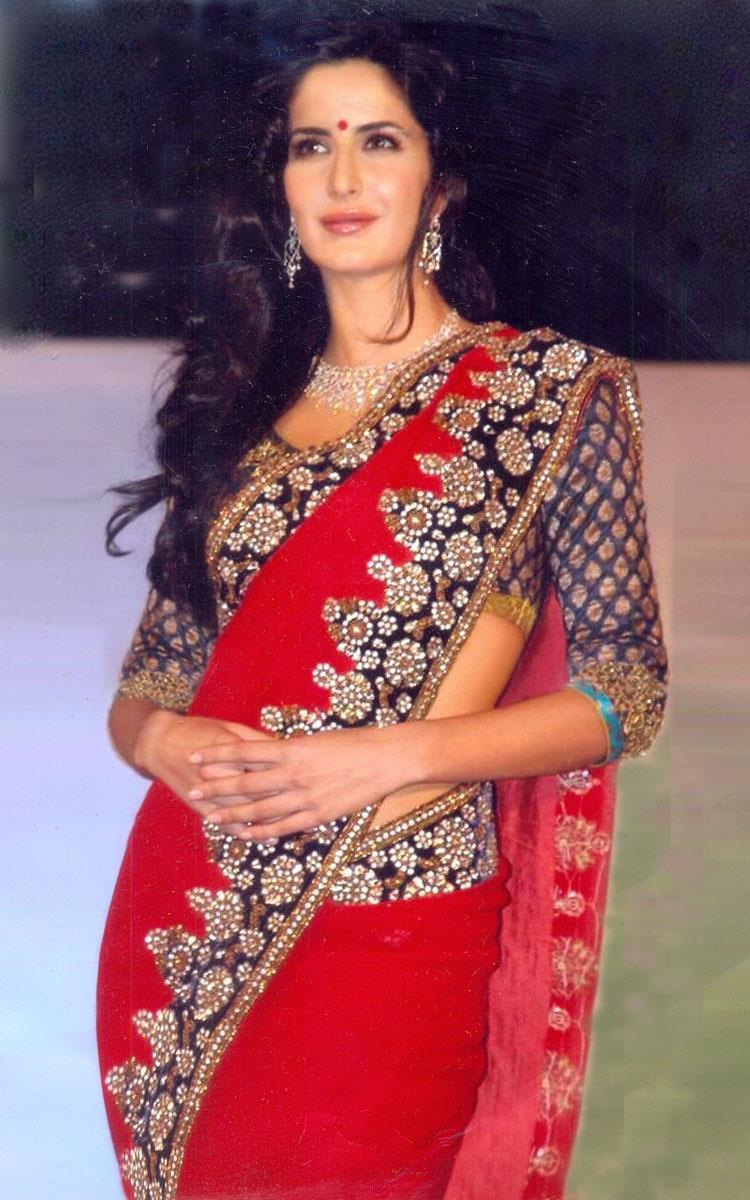 Katrina Kaif Hot Beautiful In Red Saree Gorgeous Look Still
