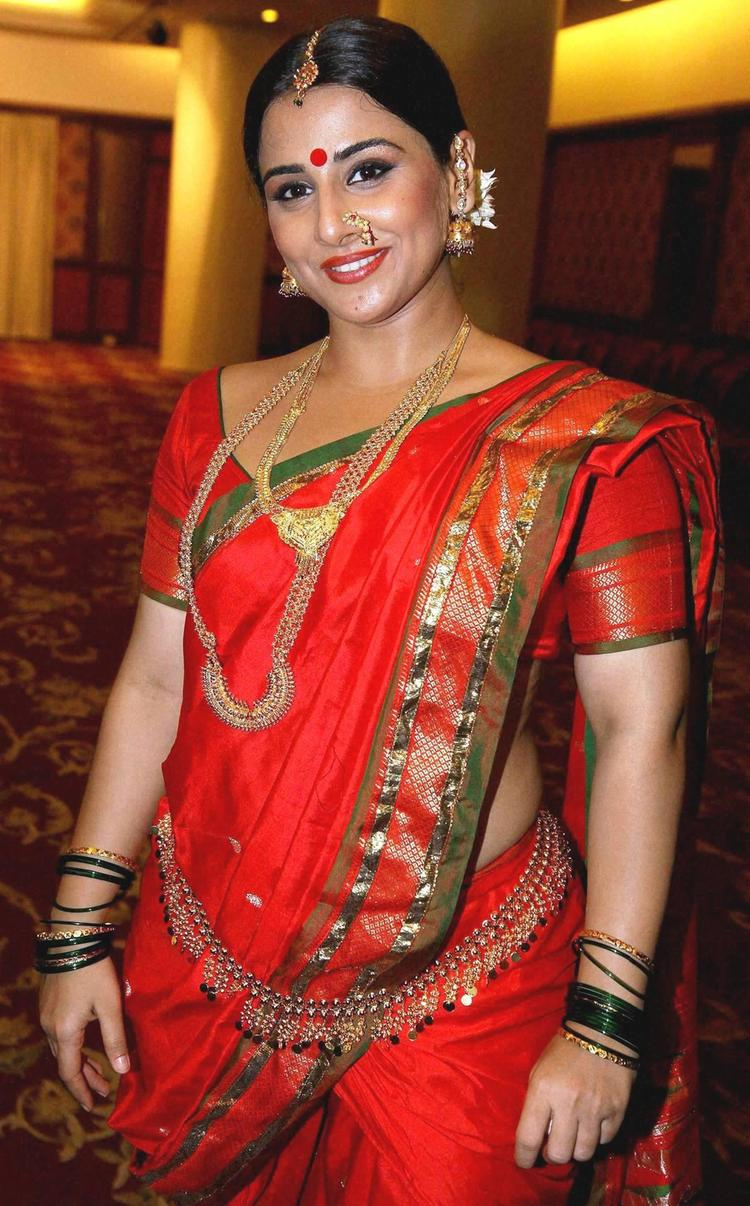 Vidya Balan In Red Saree Sizzling Hot Look Still