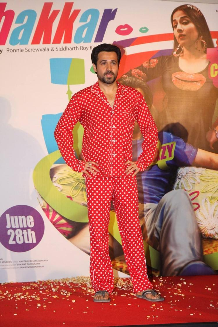 Emraan Hashmi In Red Night Wear Suit At The Music Launch Of Ghanchakkar Song Lazy Lad