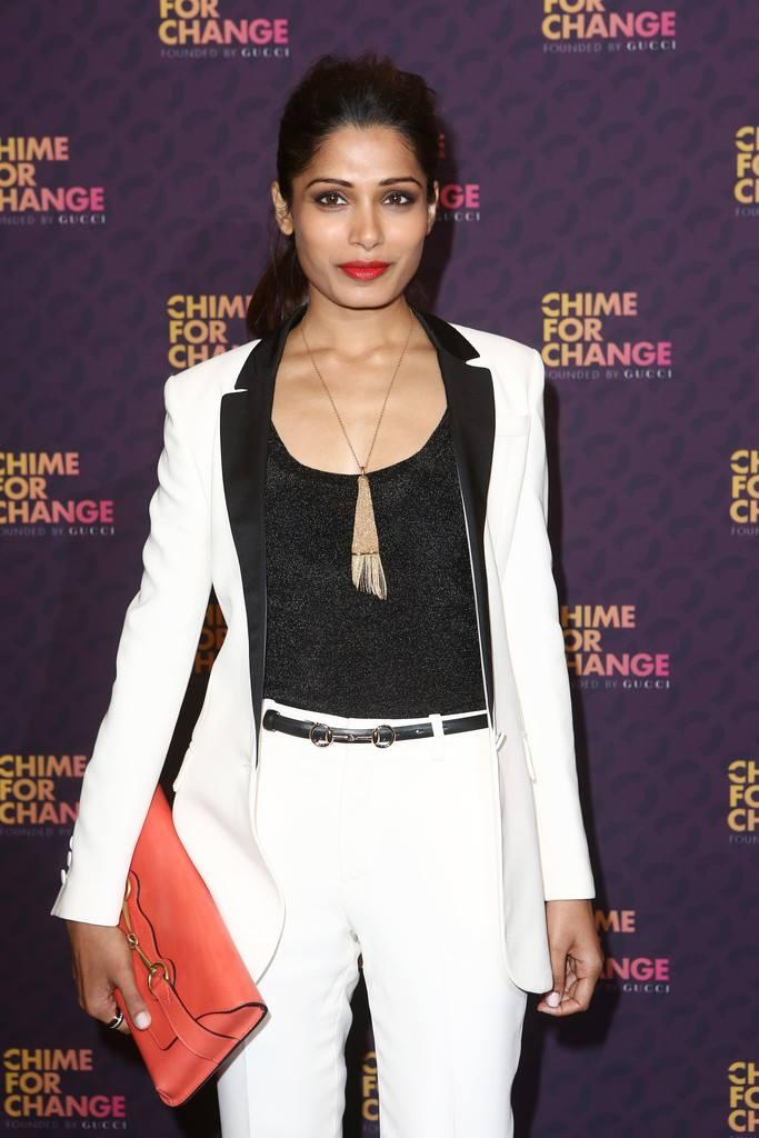 Freida Pinto Was Photographed Backstage In The Media Room at the Chime for Change concert
