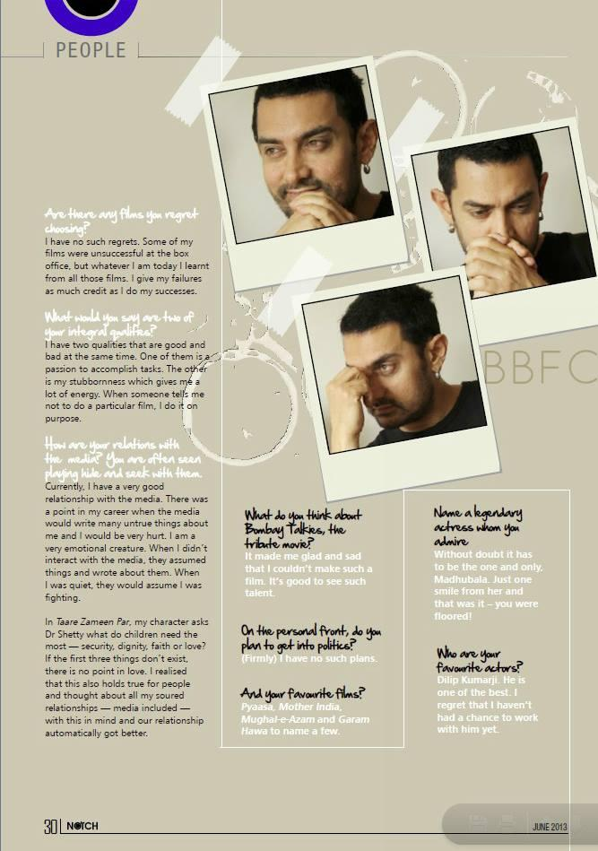 Aamir Khan Notch Magazine Issue June 2013
