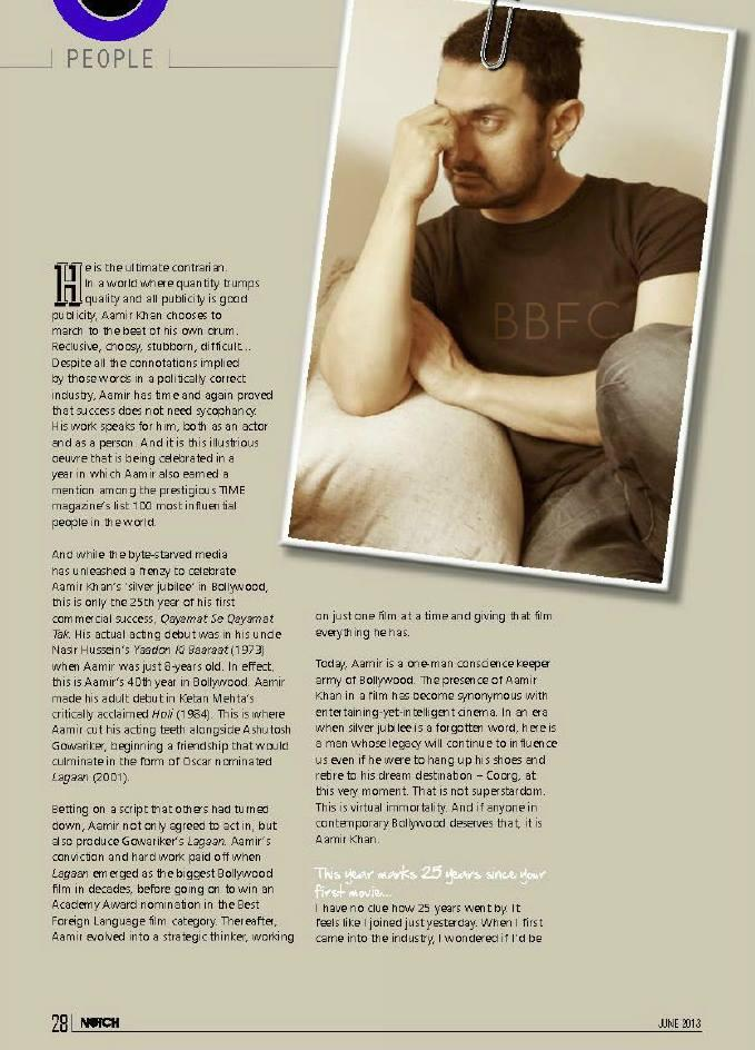Aamir Khan Notch Magazine June 2013