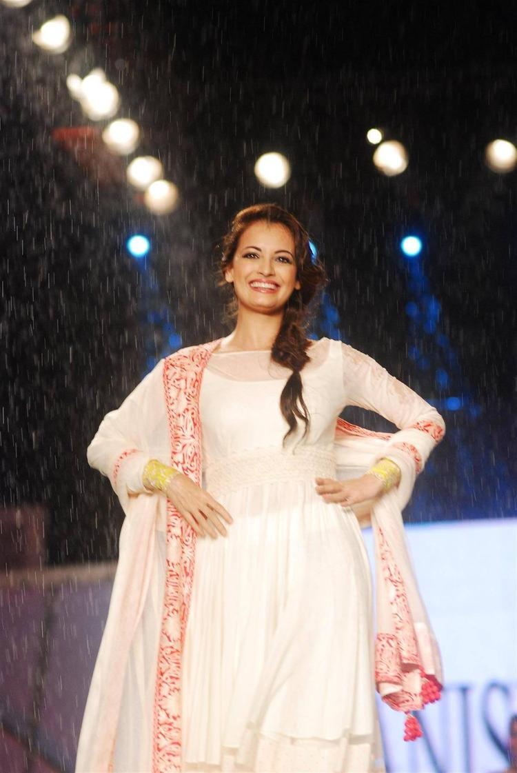 Dia Mirza Walks Ramp Manish Malhotra's Collection For CPAA Fashion Show
