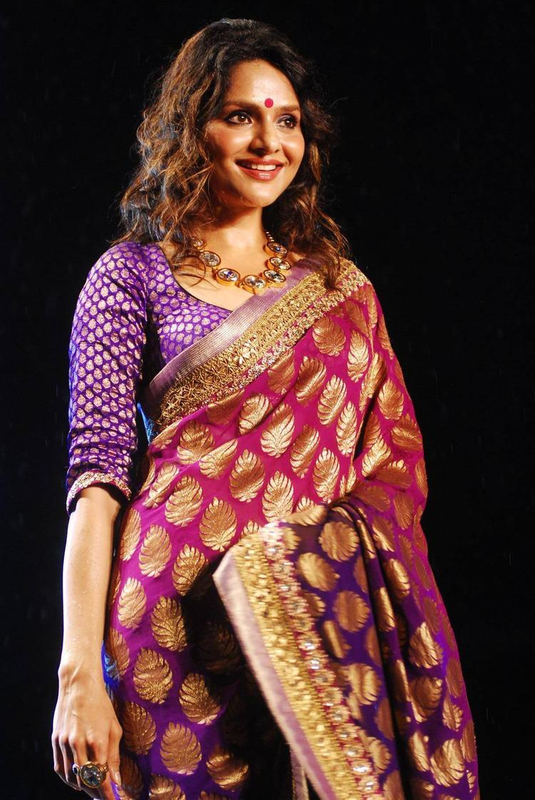 Madhoo In Red Gold Gorgeous Saree Grace The Stage Showcasing This Designer's Collection