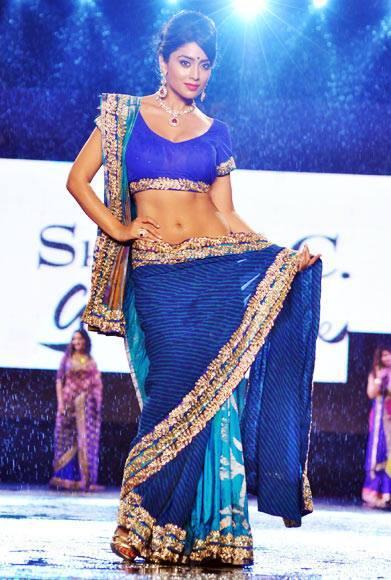 Shriya Saran Hot Blue Saree Still At CPAA Fashion Event