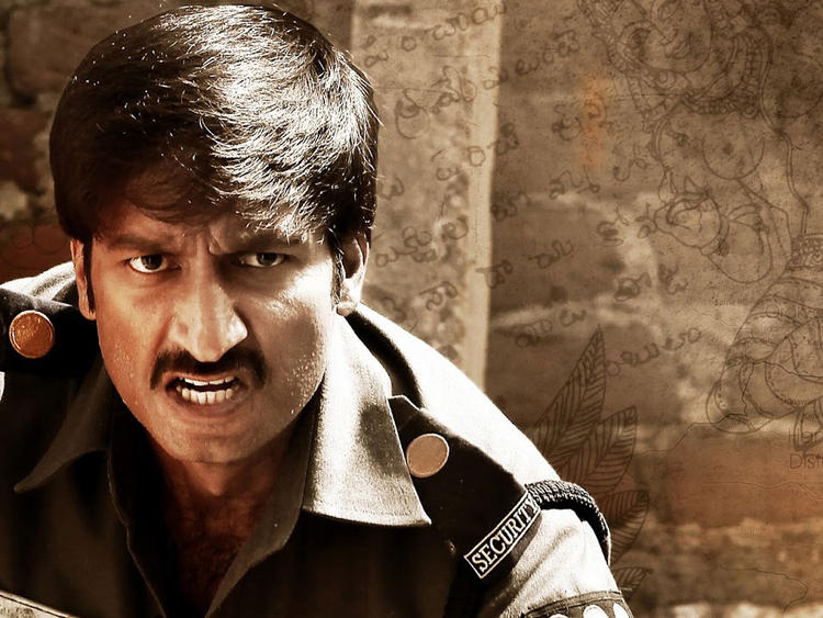 Gopichand As A Police Cop Angry Look Still From Sahasam Movie