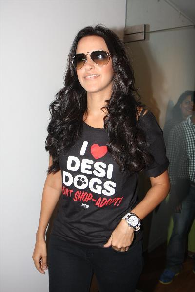 Neha Dhupia Dazzling Look With Goggles At The PETA's Pro-Veg Ad Campaign 2013