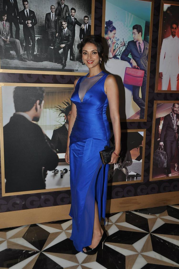 Aditi Rao Hydari  In High Cut Blue Gown At GQ Best Dressed Party 2013