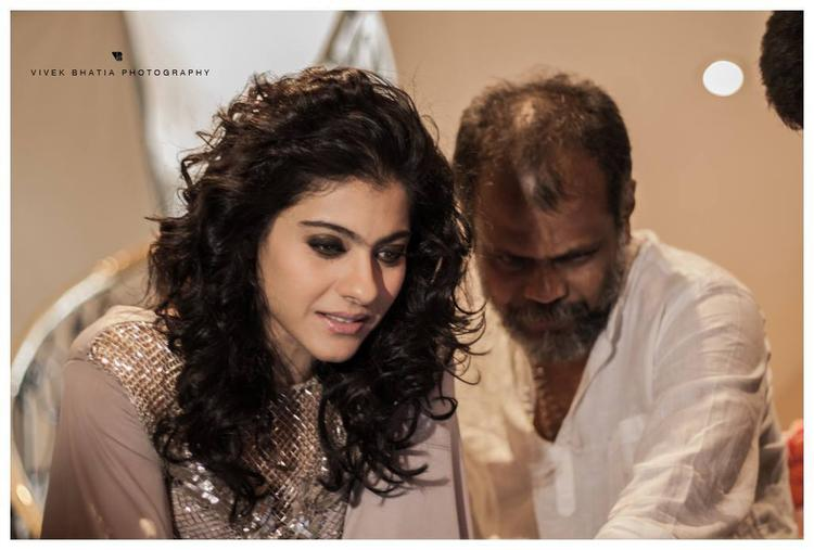 Kajol Devgan Curly Hair Pose Cool Pic On the Sets Of Filmfare Magazine Shoot