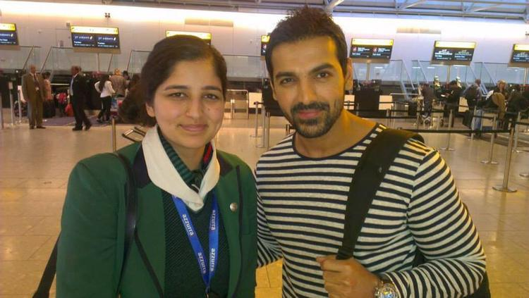 Bollywood Hunk John Abraham Pose With A Fan At Airport