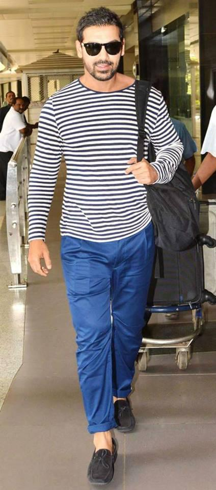 Stylist Actor John Abraham spotted at airport with Fans