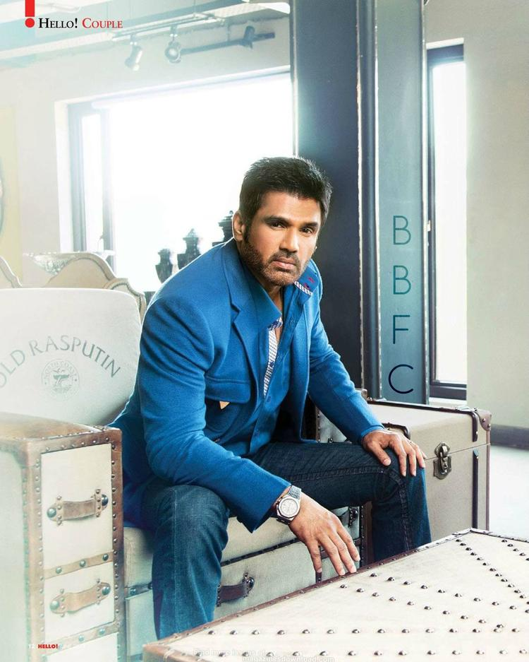 Sunil Shetty Dappers Look In Suit Photo Shoot On Hello! India Magazine June 2013