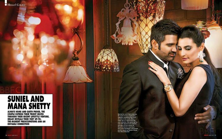 Sunil With Wife Mana Romantic Pose Photo Shoot For Hello! India Magazine June 2013
