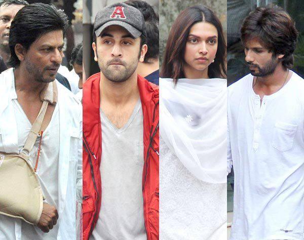 SRK,Ranbir,Deepika And Shahid At Priyanka Chopra's Dad Funeral Ceremony